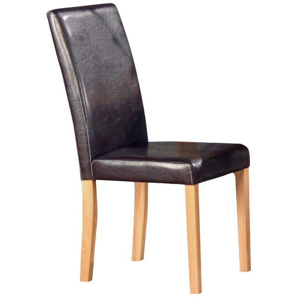 2x Ash & Faux Leather Dining Chairs