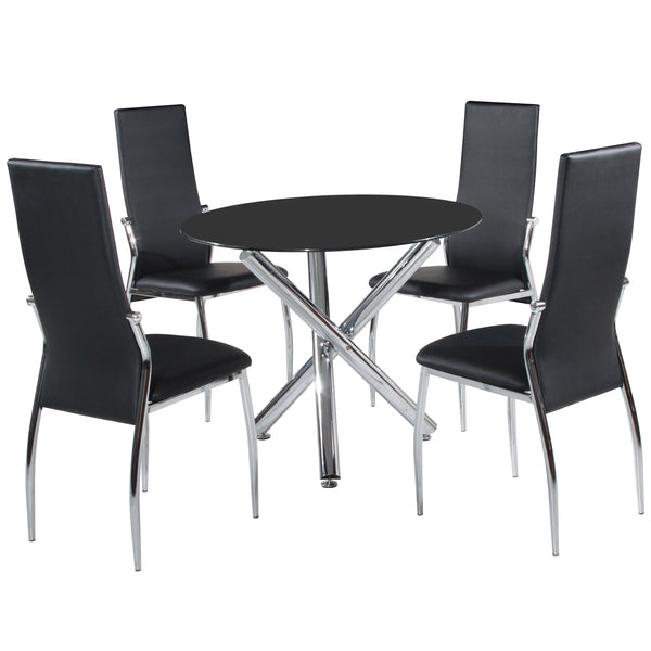 Chrome & Black Glass Dining Set