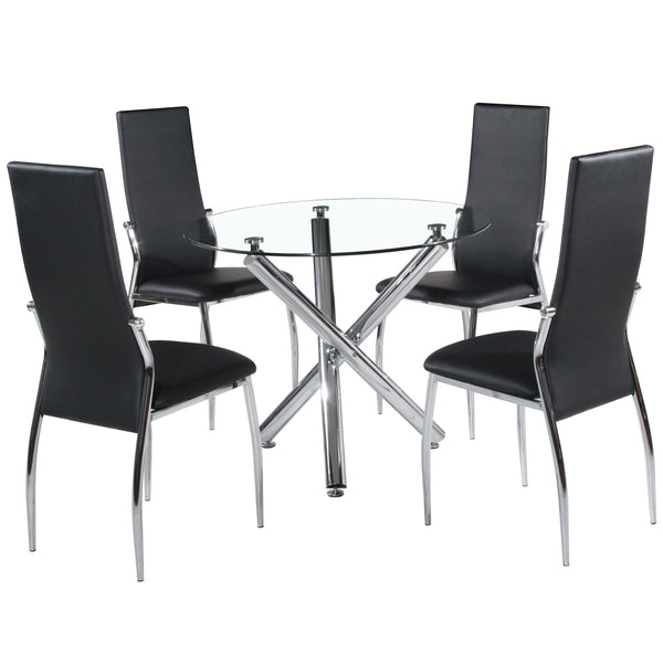 Chrome & Clear Glass Dining Set