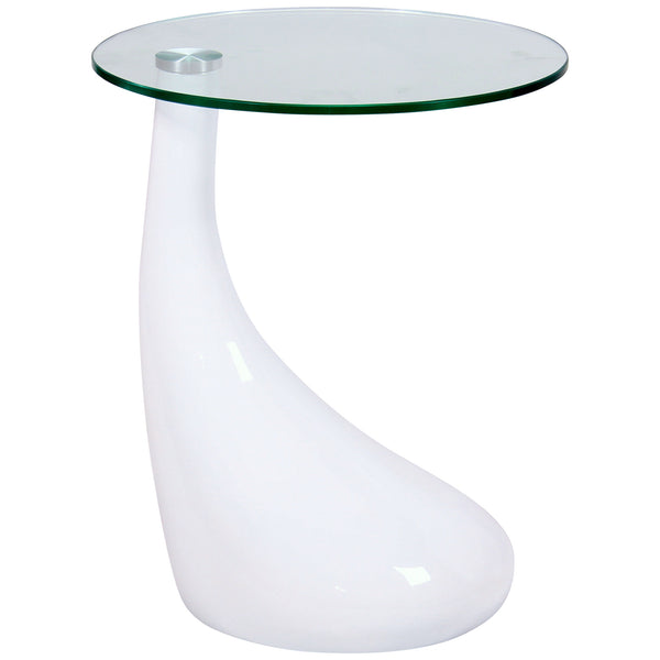 High Gloss & Clear Glass Side Table