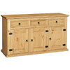 Light Waxed Finish Solid Pine Sideboard & Hutch