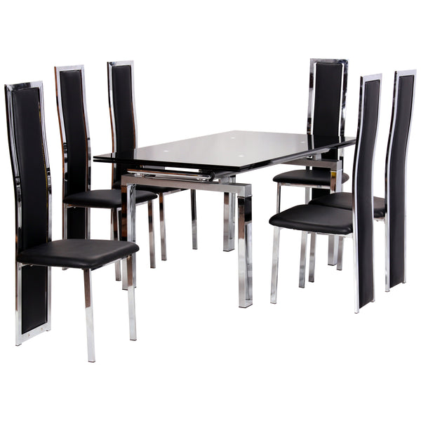 Chrome & Glass Extending Dining Set