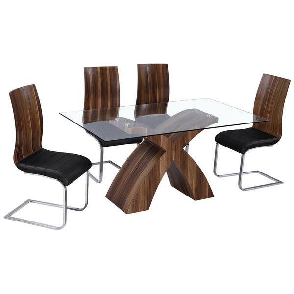 Walnut & Clear Glass Dining Set