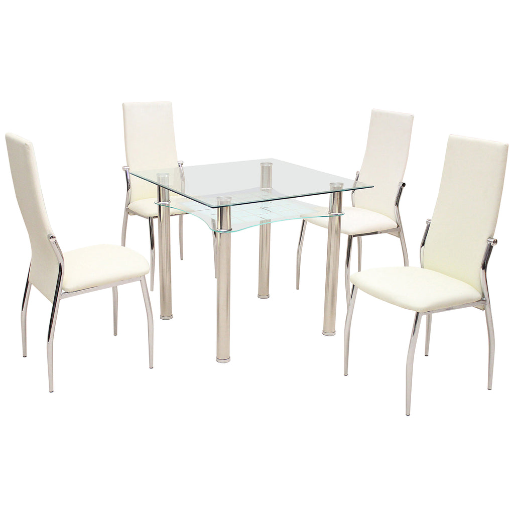 Metal & Clear Glass Dining Set