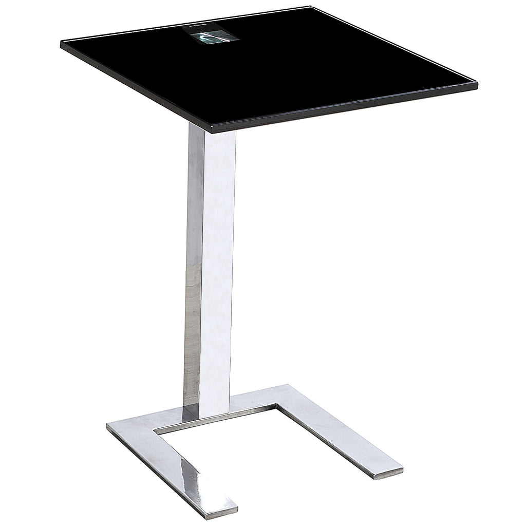 2x Chrome & Glass Side Table