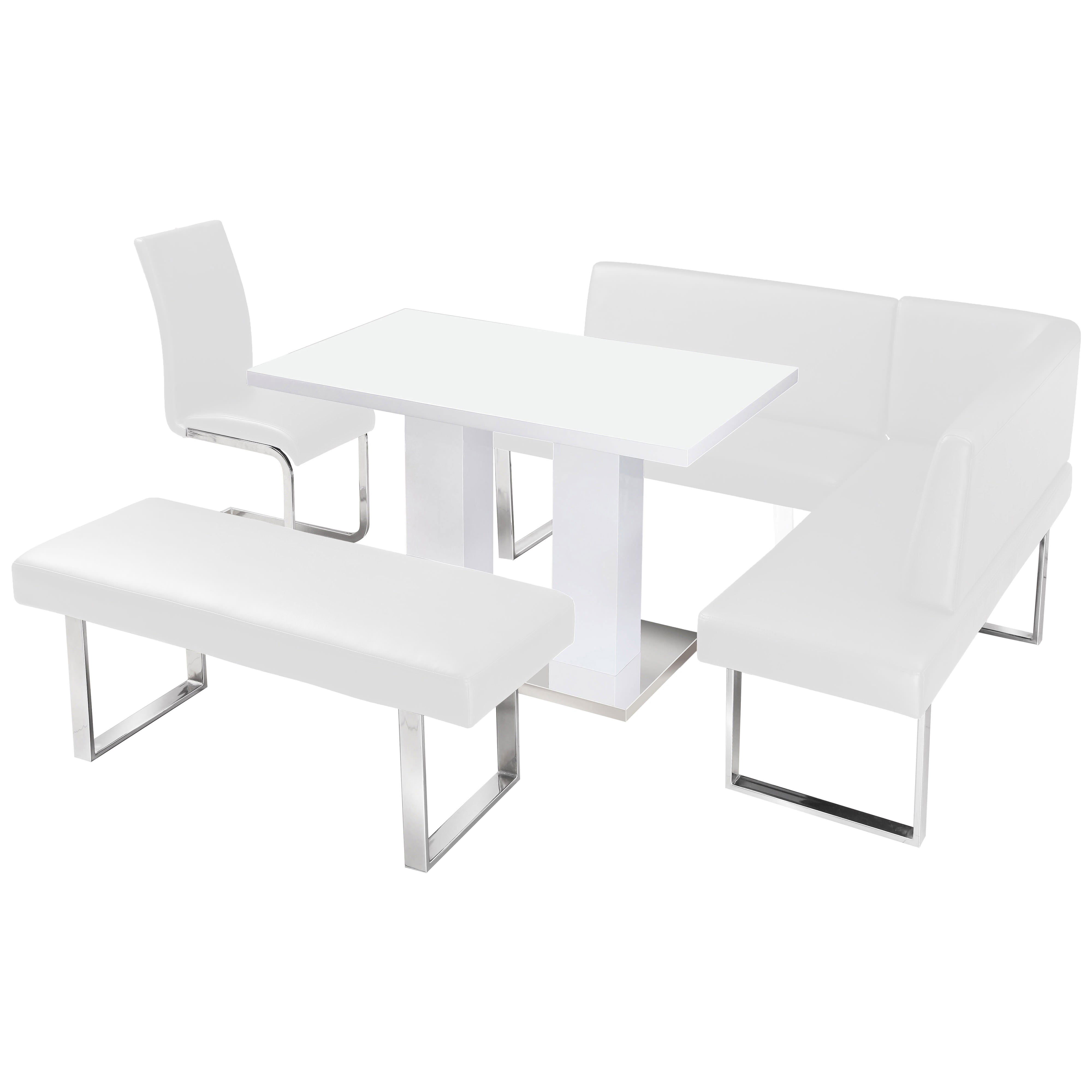Stupendous High Gloss Dining Table And Chair Set With Corner Bench 1 Unemploymentrelief Wooden Chair Designs For Living Room Unemploymentrelieforg