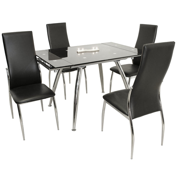 Chrome & Black Glass Extending Dining Set