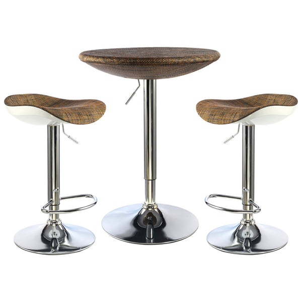 2x Brown & Chrome Bar Stool & Table