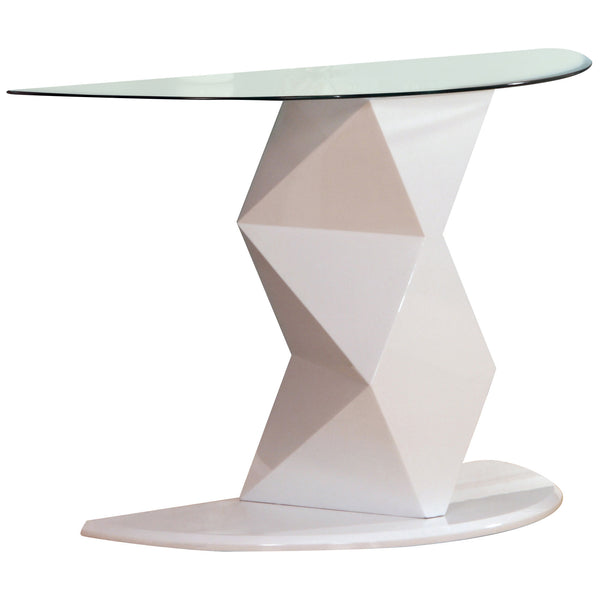 High Gloss Finish & Clear Glass Console Table