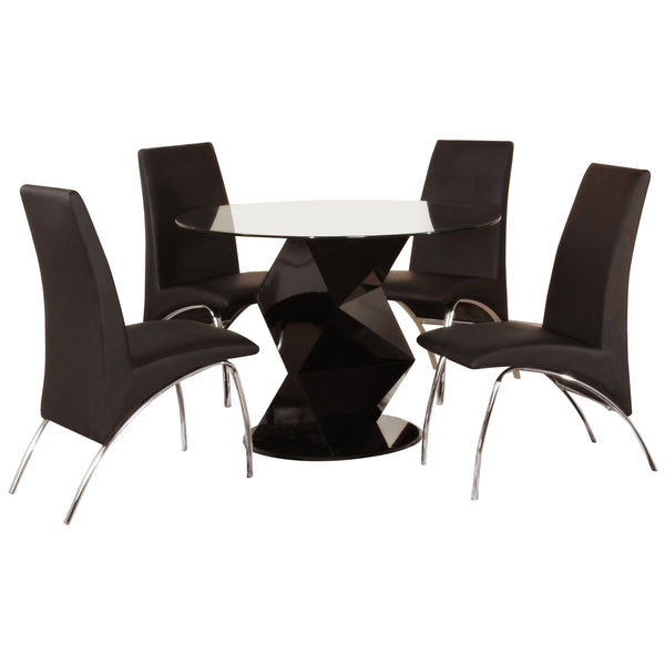 High Gloss Finish & Clear Glass Dining Set