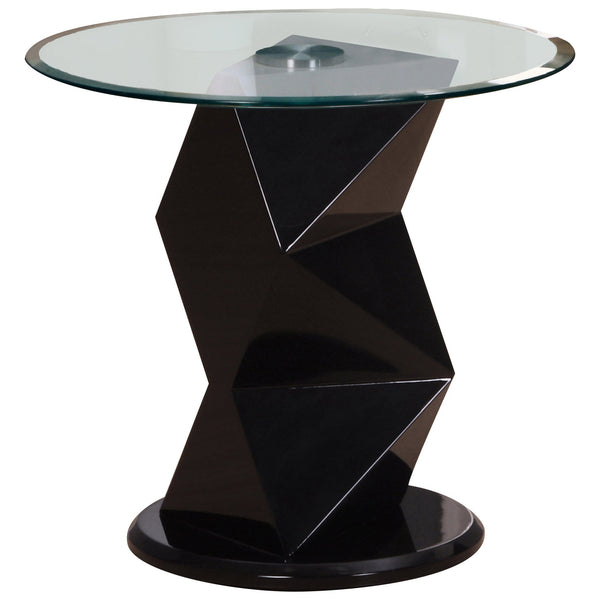 High Gloss Finish & Clear Glass Side Table