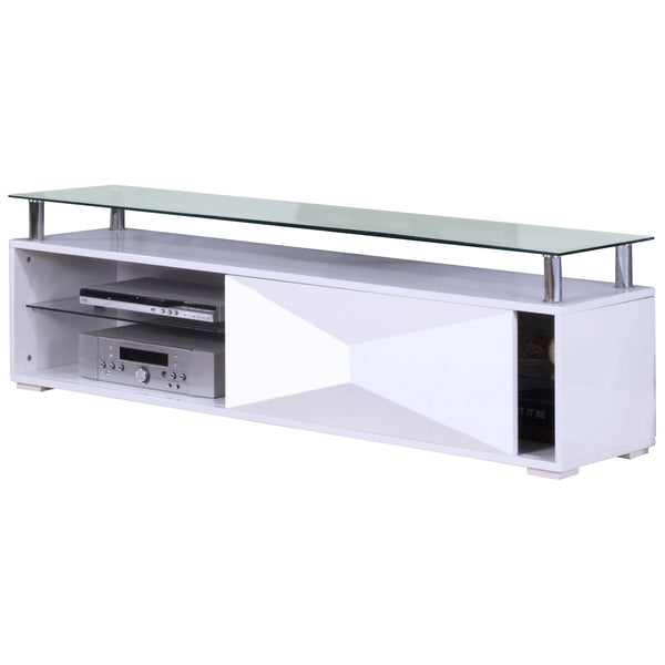 High Gloss Finish & Clear Glass TV Stand