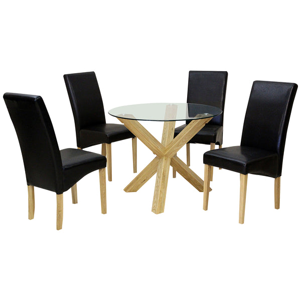 Solid Oak & Clear Glass Dining Set