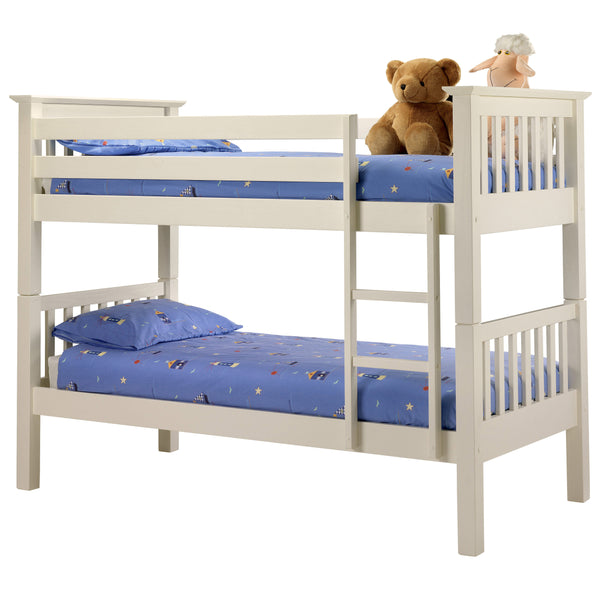 Stone White Lacquered Finish Bunk Bed