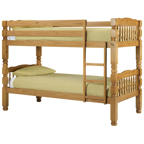 Antique Finish Pine Wood Bunk Bed