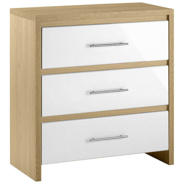 Light Oak & High Gloss White Finish Chest of 3 Drawers