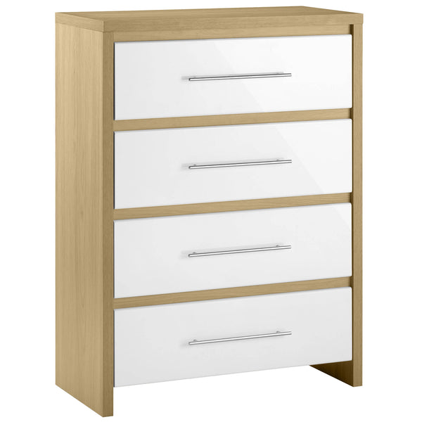 Light Oak & High Gloss White Finish Chest of 4 Drawers