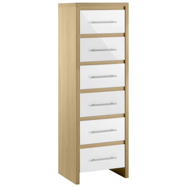 Light Oak & High Gloss White Finish Chest of 6 Drawers