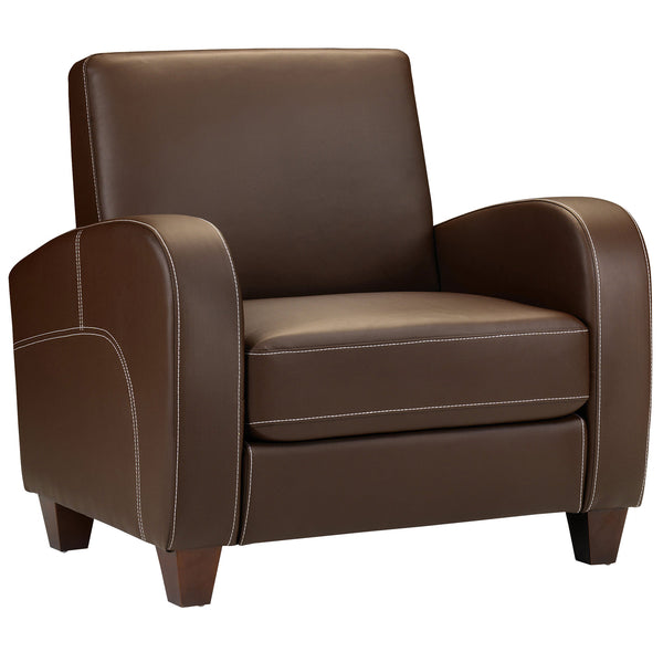 Chestnut Faux Leather Armchair