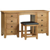 Solid American Oak & Veneer Dressing Table & Stool
