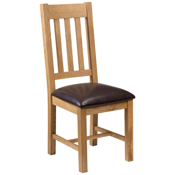 2x Solid Oak & Veneer Dining Chairs
