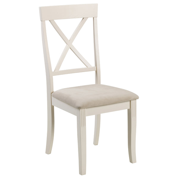 2x White Lacquered Finish Dining Chairs