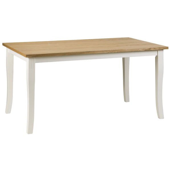 Oak Veneer & White Lacquered Finish Dining Table