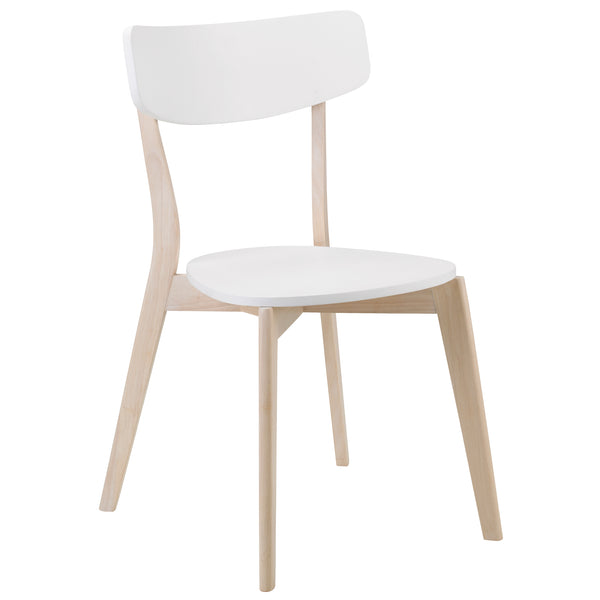 4x White Lacquered Finish & Limed Oak Effect Dining Chairs