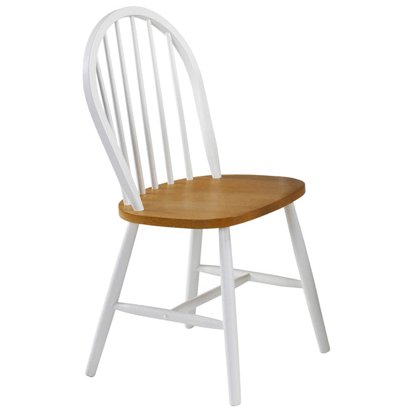 4x White & Oak Finish Dining Chairs