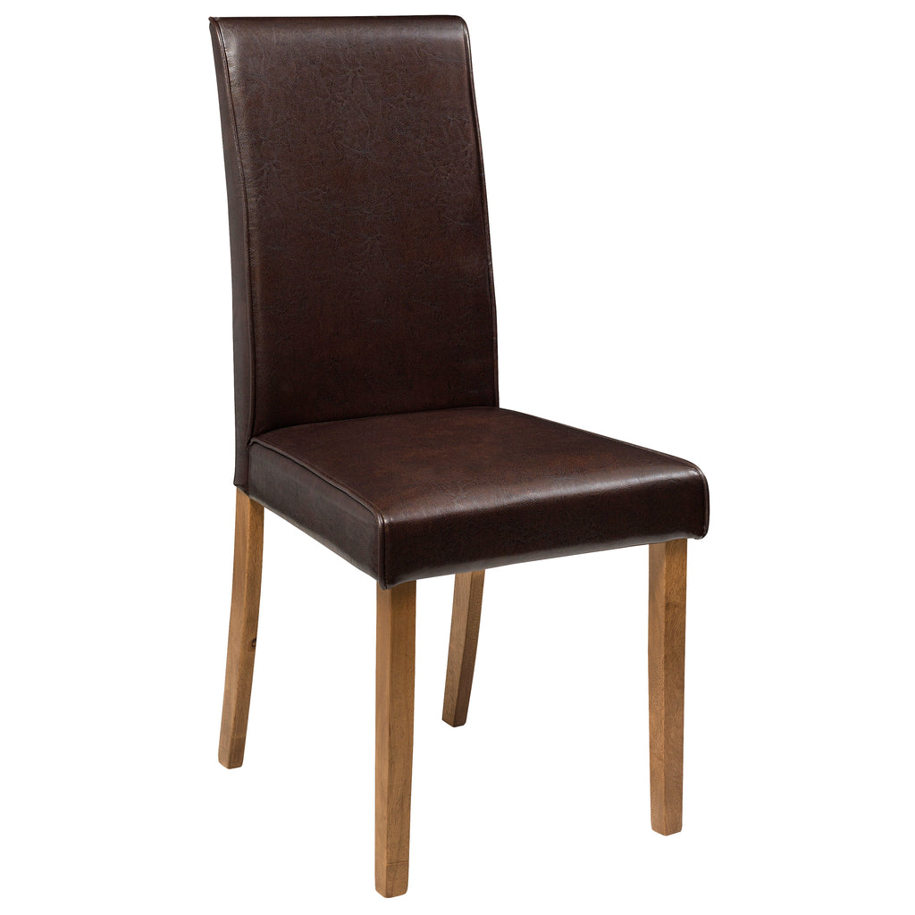 2x Brown Faux Leather Dining Chairs