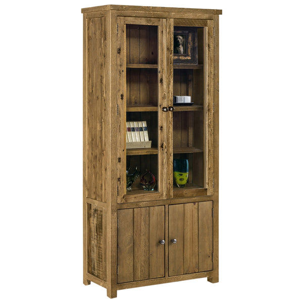 Rough Sawn Solid Pine Display Cabinet