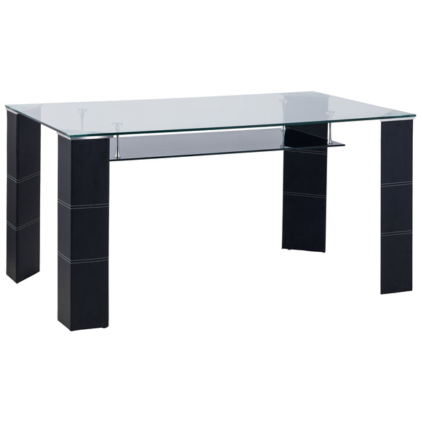 Black Faux Leather & Glass Dining Table