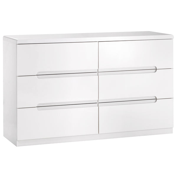 High Gloss White Finish Chest of 6 Drawers