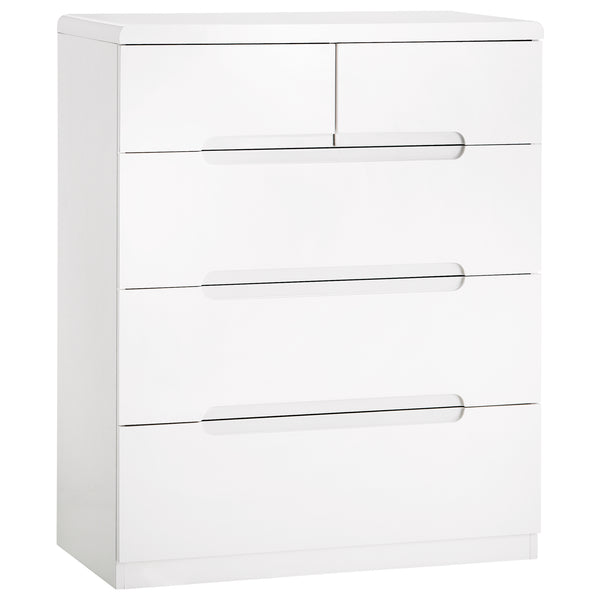 High Gloss White Finish Chest of 3+2 Drawers
