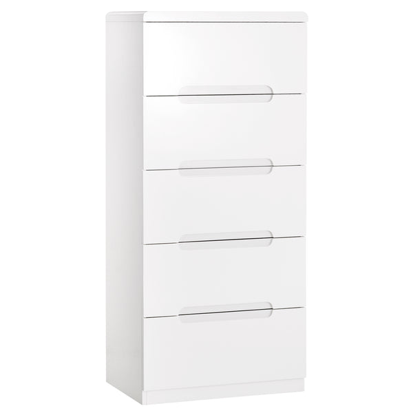 High Gloss White Finish Chest of 5 Drawers