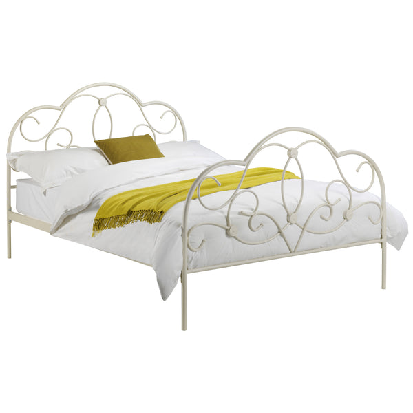 Stone White Finish Metal Bed Frame