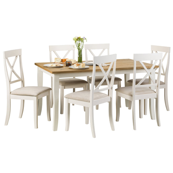 Oak Veneer & White Lacquered Finish Dining Set