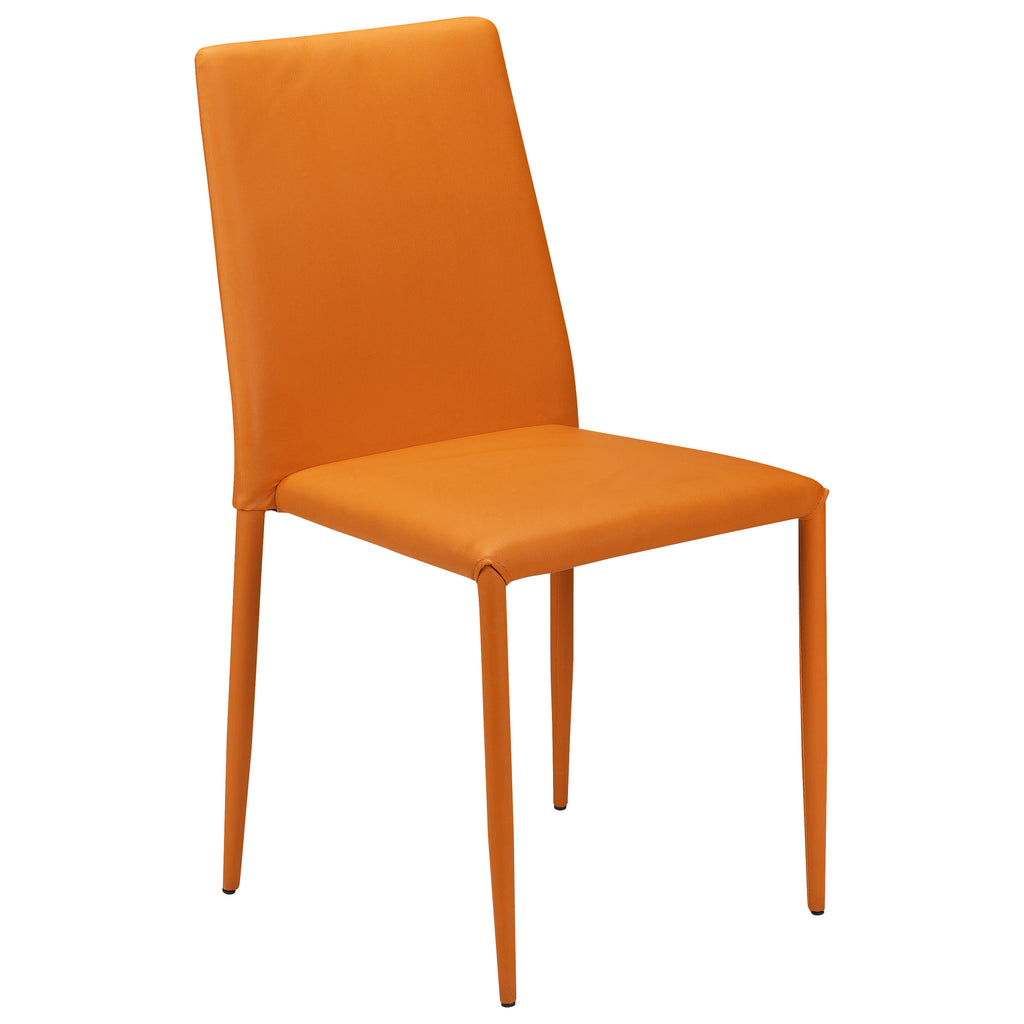 Red Orange Yellow Turquoise Accent Chair: Pack Of 2 Faux Leather Dining Seat Chair Set
