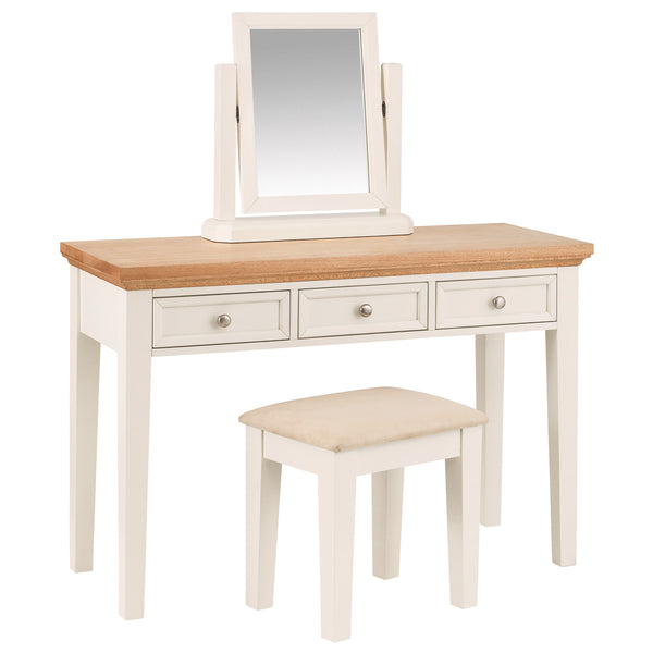 Stone White Finish & Oak Dressing Table Set
