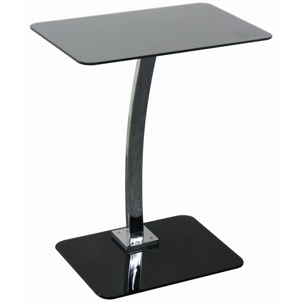 Black Glass & Chrome Laptop Table