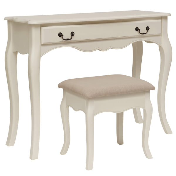 Antique White Finish Dressing Table & Stool