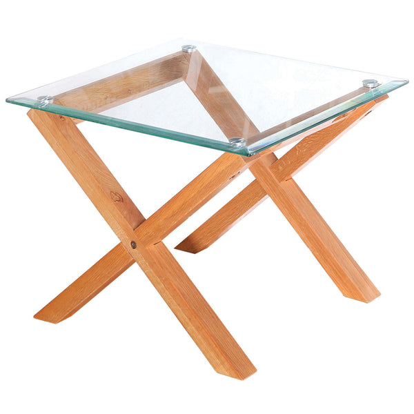 Solid Oak & Glass Side Table