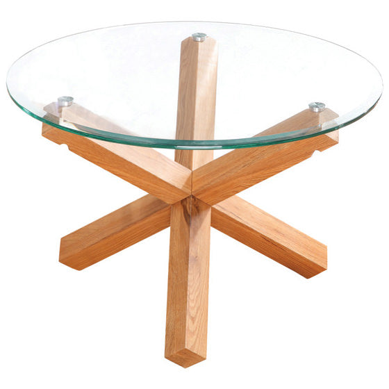 Solid Oak & Glass Coffee Table