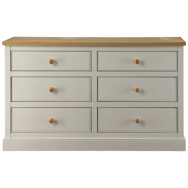 Dove Grey & Real Ash Veneer 6 Drawer Dresser
