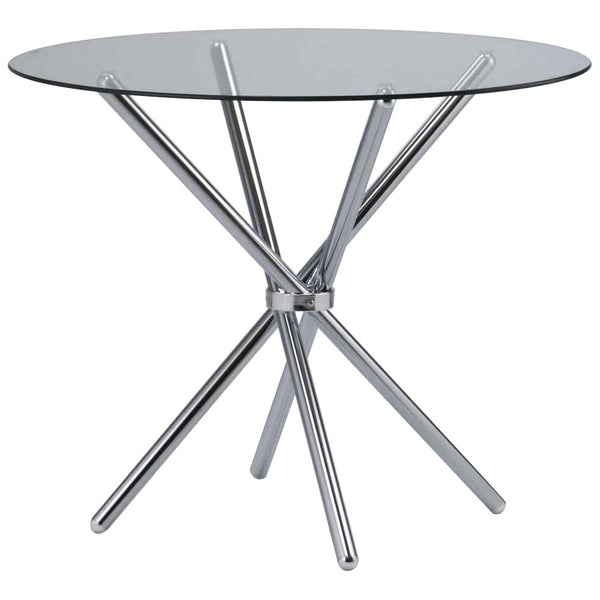 Clear Glass & Chrome Dining Table