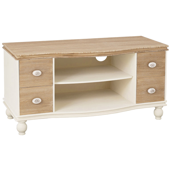 Cream & Wood Finish TV Unit