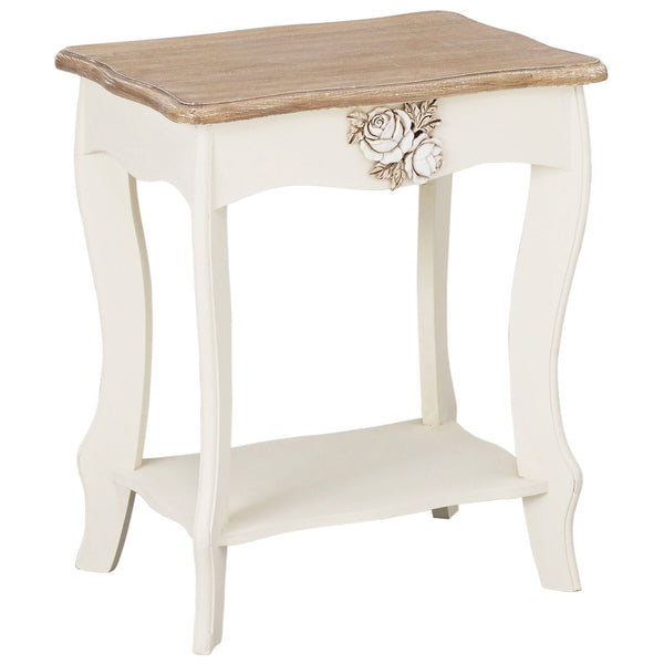 Cream & Wood Finish Side Table