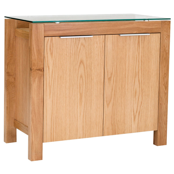 Solid American White Oak & Glass Sideboard