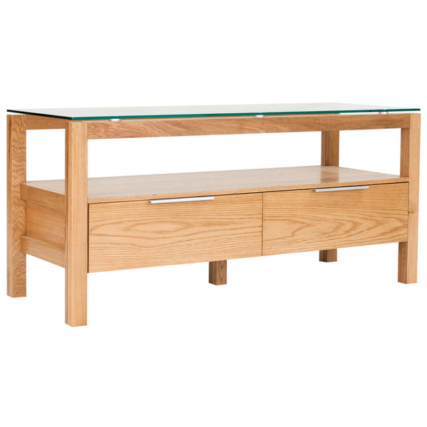 Solid American White Oak & Glass TV Unit