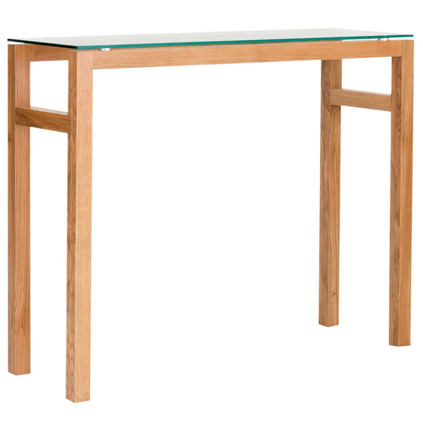 Solid American White Oak & Glass Console Table